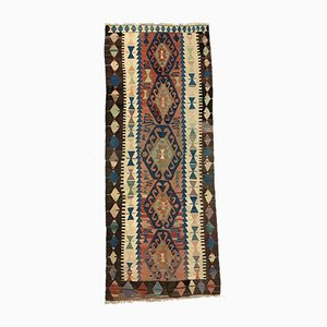 Large Vintage Turkish Red, Brown, Blue, and Beige Kilim Runner Rug, 1950s
