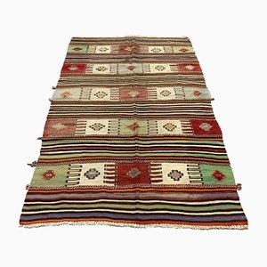 Türkischer Vintage Kelim Teppich in Grün, Rot & Beige, 1950er