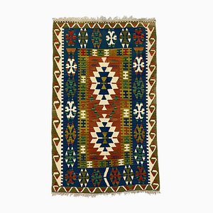 Large Vintage Turkish Blue, Red, Beige, and Green Tribal Kilim Rug, 1950s