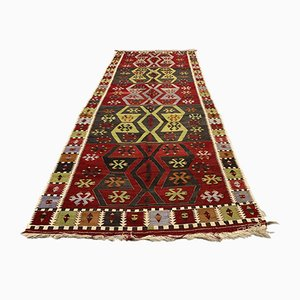 Large Vintage Turkish Red, Black, and Green Wool Kilim Runner Rug, 1950s