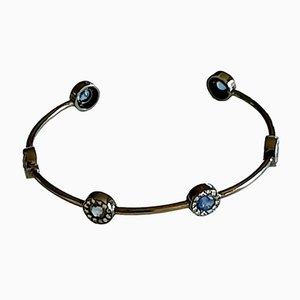 Bracelet Manchette Doré avec Saphirs, 2000s