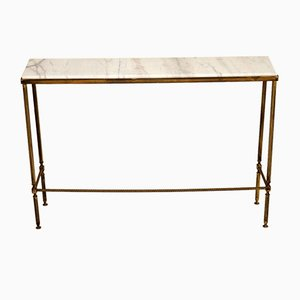 Vintage Brass & Marble Console Table, 1970s