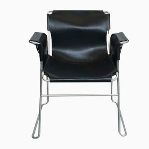 Italian Black Leather and Steel Armchairs, 1970s, Set of 4