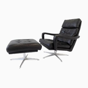 Vintage Danish Black Leather Chair and Ottoman Set, 1970s