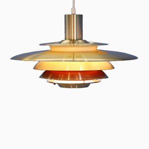 Large Danish Brass and Orange Red Ceiling Lamp, 1970s