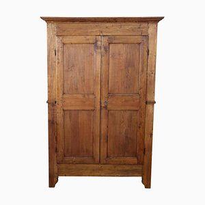 Antique Solid Poplar Wood Wardrobe, 1850s