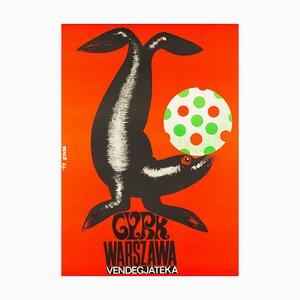 Vintage Hungarian Balancing Seal Circus Poster by Benko Sandor, 1966