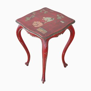 Vintage Lacquered and Painted Wood Side Table with Chinoiserie Decor, 1930s
