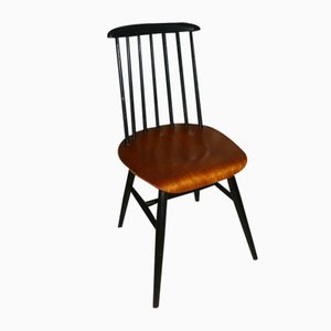 Mid-Century Black and Teak Rung Chairs, Set of 6