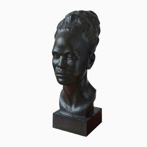Grande Tête Sculptée Africaine par J. Vargas, 1930