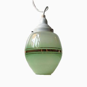 Danish Green Opaline Glass Funkis Pendant Lamp from Lyfa, 1940s