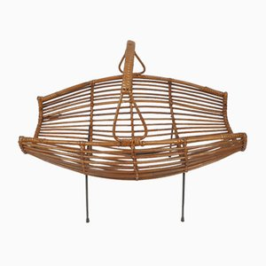 Italian Wicker Rattan Magazine Rack, 1950s