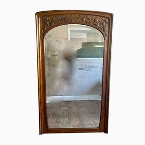 Large Antique Wooden Beveled Mirror