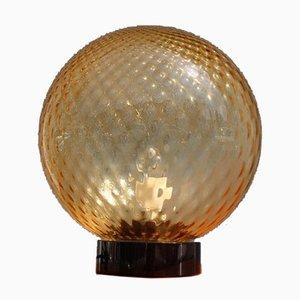 Lámpara de mesa italiana con bola de cristal de Murano, años 60