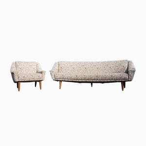 Mid-Century Danish Banana Sofa and Easy Chair Set