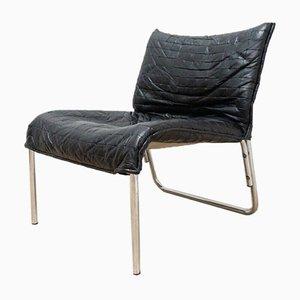 Schwedischer Mid-Century Sessel aus Leder & Chrom