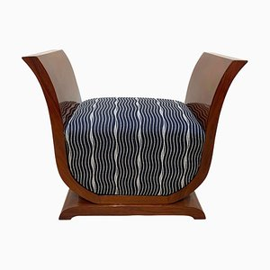 French Art Deco Walnut Stool in Lyra Shape, 1930s