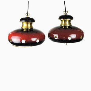 Space Age Red and Gold Pendant Lamps, 1960s, Set of 2