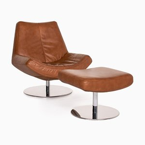 Cognac Brown Leather Armchair & Stool from Musterring, Set of 2