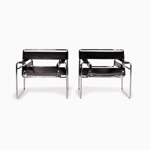 Black Leather Wassily Chairs by Marcel Breuer for Knoll International, Set of 2
