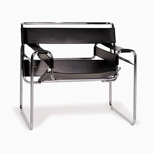 Black Leather Wassily Chair by Marcel Breuer for Knoll International