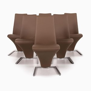 Brown Leather 7800 Dining Chairs from Rolf Benz, Set of 6