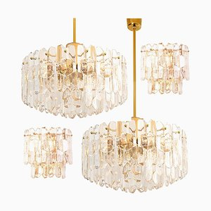 Gilt Brass and Glass Palazzo Light Fixtures by J.T. Kalmar, 1960s, Set of 4
