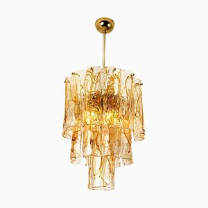 Brass Clear and Amber Spiral Glass Chandelier from Mazzega, 1970s