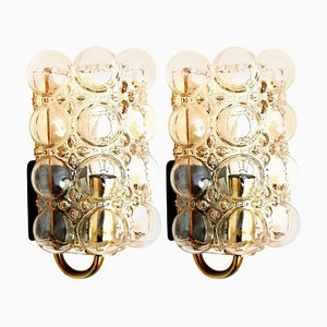 Glass Sconces by Helena Tynell for Glashütte Limburg, 1960s, Set of 2