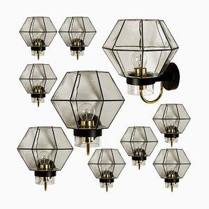 Große Wandlampe aus Eisen & Klarglas von Glashütte Limburg, 1960er