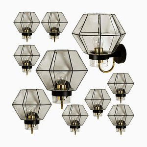 Large Iron and Clear Glass Wall Light from Glashütte Limburg, 1960s