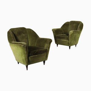 Italian Foam Springs Velvet & Wood Armchairs, 1950s, Set of 2