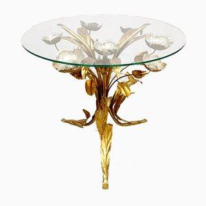 Tavolino vintage in ottone, metallo dorato e vetro di Hans Kogl, anni '60