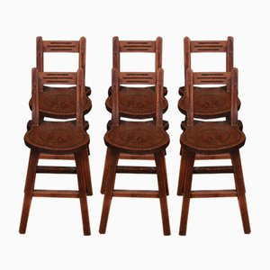 Swiss Elm Back Stools, Set of 6