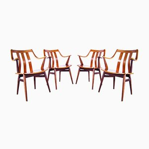 Teak Bentwood Dining Chairs from Pastoe, 1950s, Set of 4