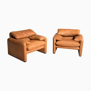 Tobacco Leather 675 Maralunga Adjustable Headrest Armchairs by Vico Magistretti, 1980s, Set of 2