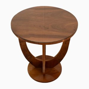 Small Art Deco Walnut Pedestal Table, 1920s