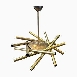 Mid-Century Brass 16-Light Sputnik Chandelier by Angelo Lelli for Stilnovo, 1950s
