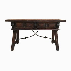 19th Century Spanish Console Table with Drawers and Iron Stretcher