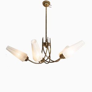 Brass and Opaline Glass 5-Arm Chandelier, 1960s