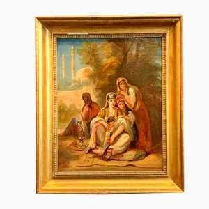 Peinture à l'Huile Jeunes Orientales 19ème Siècle par Adolphe Aze