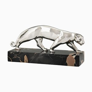 Art Deco Silver-Plated Bronze Panther Sculpture from Luc France, 1930s