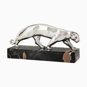 Scultura Art Déco a forma di pantera in bronzo argentato di Luc France, anni '30