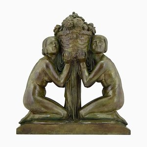 Art Deco Bronze Two Nudes Holding a Basket Sculpture by Pierre Lenoir for Barbedienne, 1920s