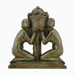 Sculpture Deux Nus Art Deco en Bronze tenant un Panier par Pierre Lenoir pour Barbedienne, 1920s