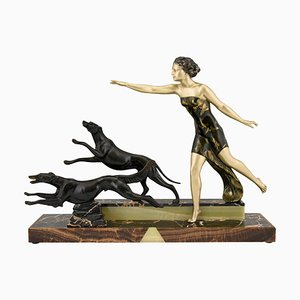Art Deco French Lady with Dogs Sculpture from Uriano, 1930s