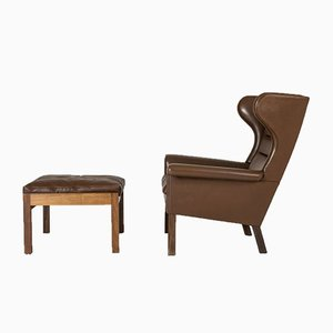 Leather and Rosewood Armchairs by Hans J. Wegner for AP Stolen, 1960s, Set of 4