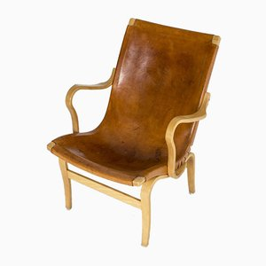 Mid-Century Leather Model Eva Armchairs by Bruno Mathsson for Dux, Set of 2