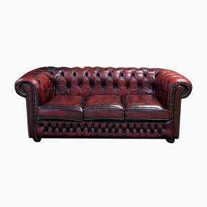 Red Leather 3-Seater Chesterfield Sofa, 1980s