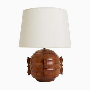 Art Deco Walnut Table Lamp, 1940s